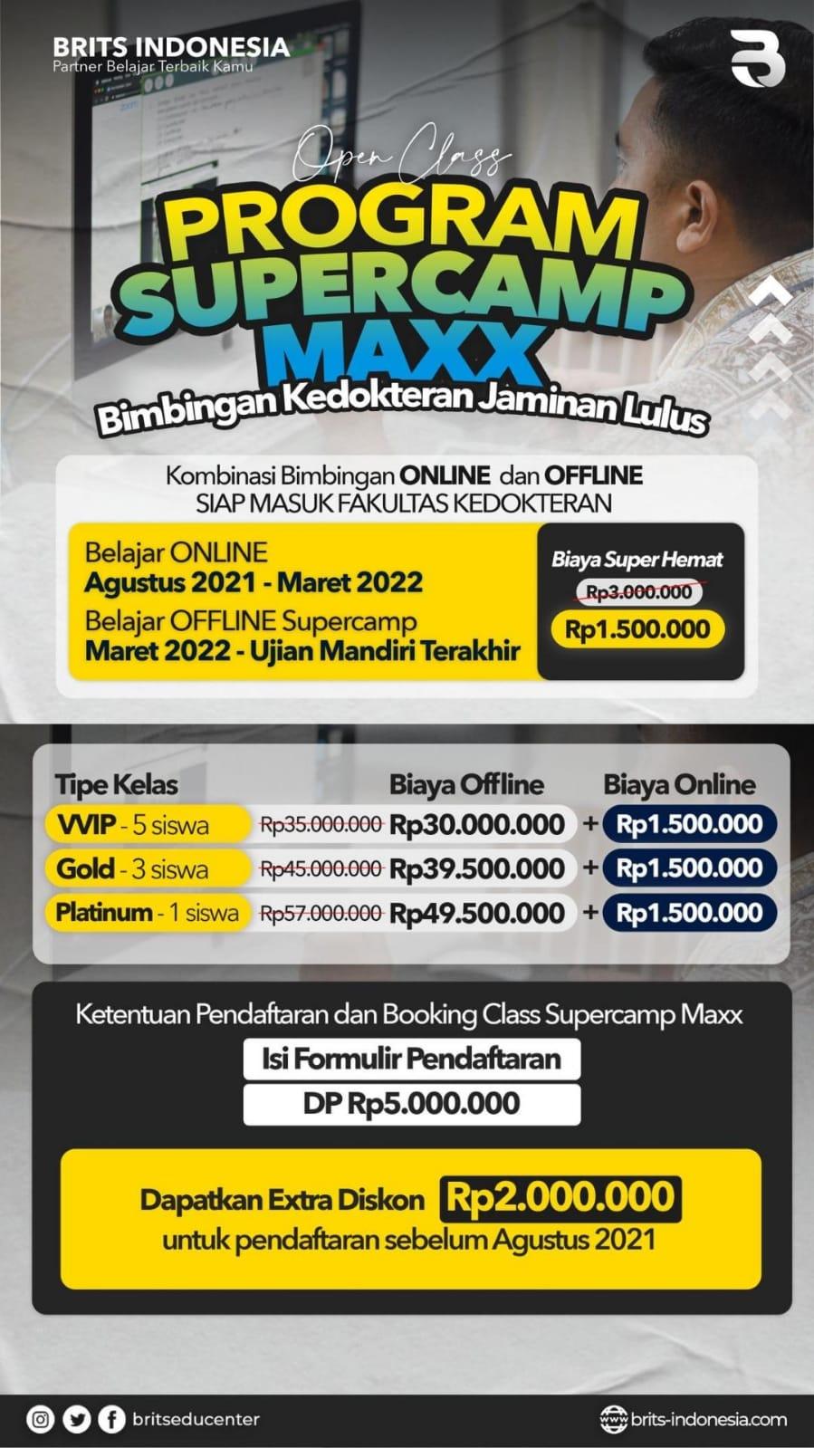 Program Supercamp MAXX BRITS Indonesia Kedokteran dan All Jurusan Malang Yogyakarta - SuksesUTBK2022 snap